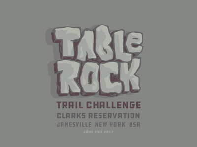 Table Rock Trail Challenge v01, Stone Tone lettering rock logo running trailrun
