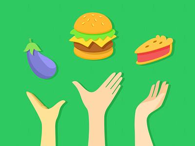 Flat Yum! debuts illustration food hands vector flat