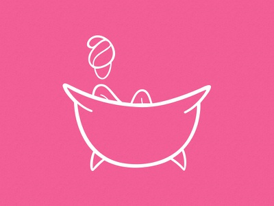 Relax illustration relax line icon bathroom flat glyph vector girl cute pink