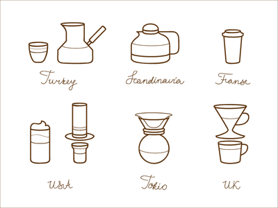 Coffee of the World coffee glyphs icons line illustration vector typography cup chemed siphon kettle