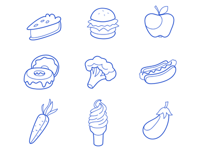 Foodies Icon icon icons pie burger apple donut broccoli hot dog carrot ice cream eggplant