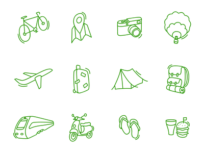 Travel Icon icons travel bicycle map plane suitcase balloon tent train camera scooter burger