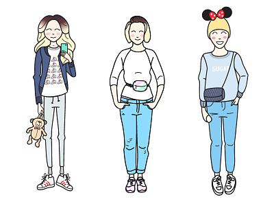 Friends. First part. line friends illustration