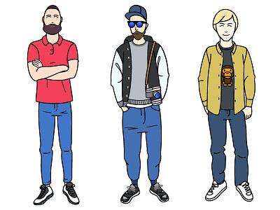 Friends. Second part. boys line illustration