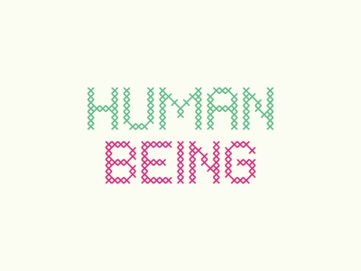 Human Being craft cross stitch typography type letters custom type