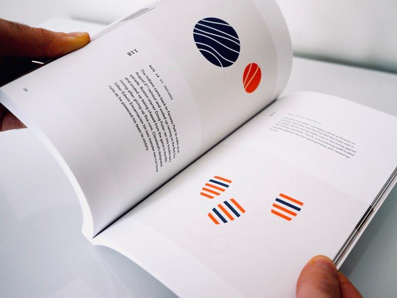 Red Sox Scores 2017: Pages 126-127 simple book minimalism minimal infographic data visualization data viz data sports baseball