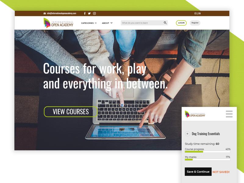 International Open Academy flat webdesign web ui ux