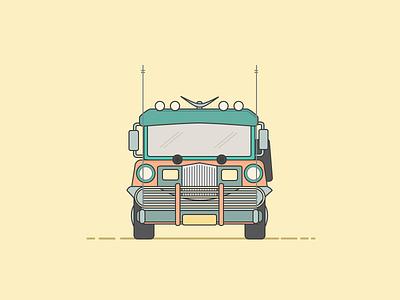Philippines Jeepney jeep jeepney public transport travel philippines manila illustrator illustration