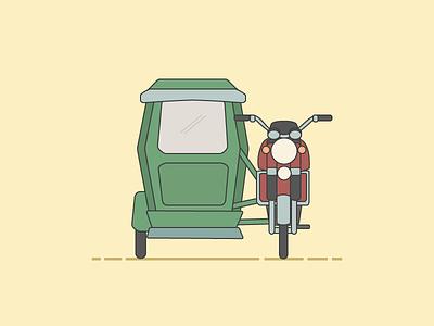 Philippines Tricycle illustrator illustration tricycle sidecar motocycle manila