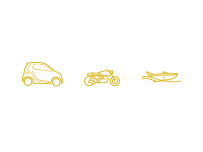 Vehicules Icons smart car motorcycle speed boat boat car gold vehicules