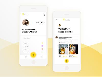 Geoffrey Butler Assistant App sketchapp sketch concept ui fresh prince ai lifestyle assistant app