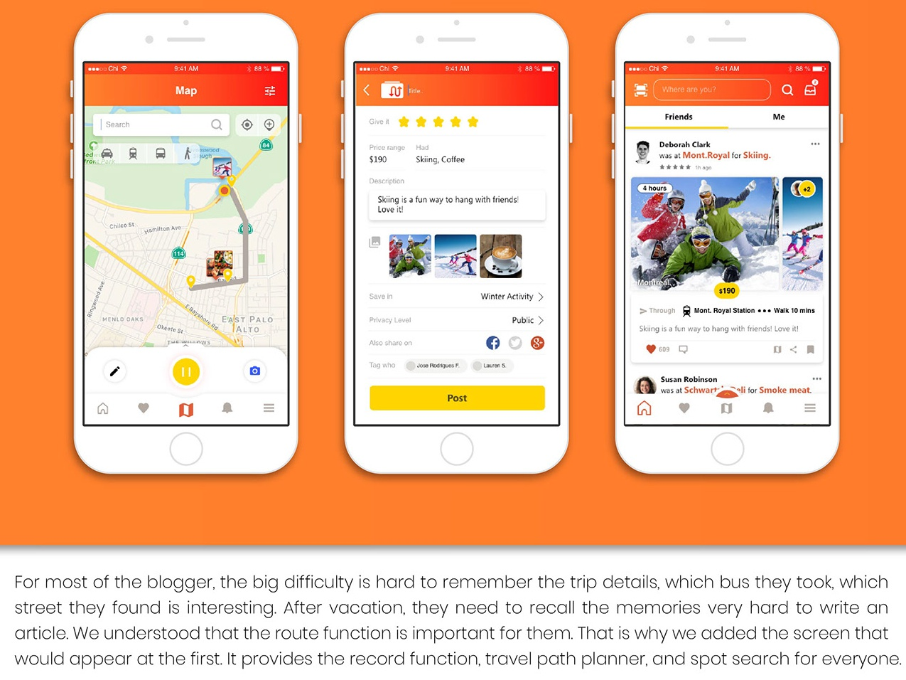 FollowMe - Record and share your amazing trip blog navigation web ux ui illustration design app