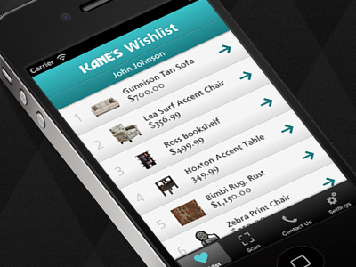 Wishlist Scanner App Concept for a Retail Furniture Store app iphone ios mobile ux ui design scanner digital strategy ecommerce shop list store retail shopping scan user interface bookmark clean simple