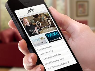 Jordan's Furniture Website Mobile Homepage web website ui ux ecomm homepage frontpage mobile responsive rwd design interface store shopping retail touch-screen serif