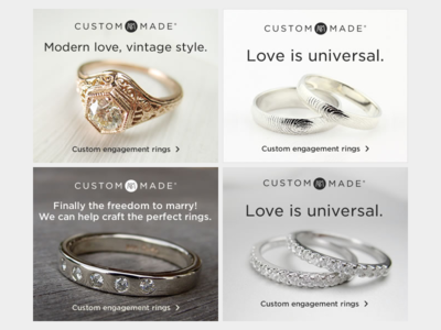 Display Creative, LGBT Engagement Rings display creative ads adverts banners banner ads ecomm ecommerce shopping art direction creative direction web