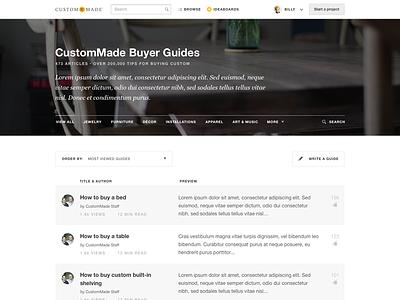 Buyer Guide Index ui ux clean flat web responsive rwd user interface navigation menu filters product design