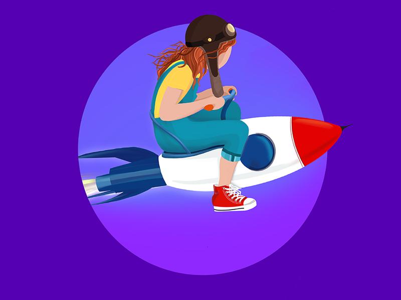 To the Moon creative flat vector designer procreate inspiration colorful art kids traveling rocket design illustraion