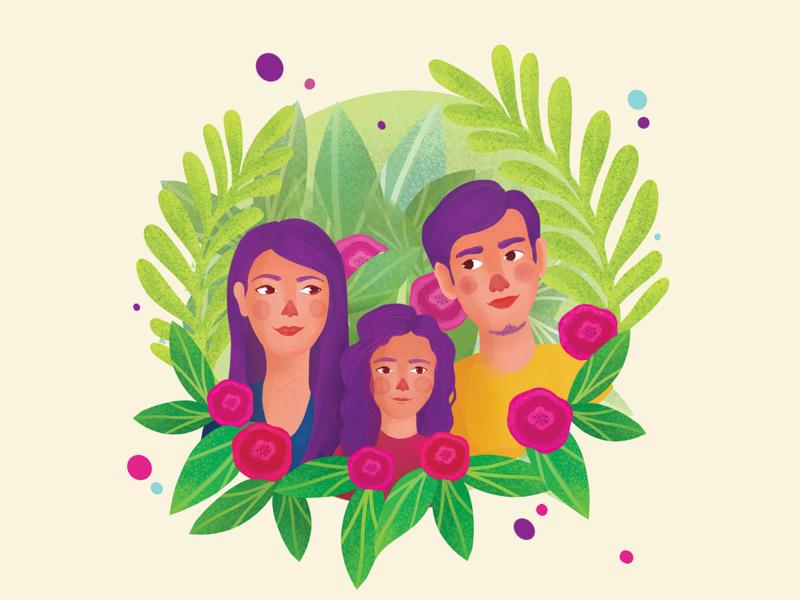 Family portrait happiness flowers illustration love inspiration colorful flowers nature portrait family procreate illustration