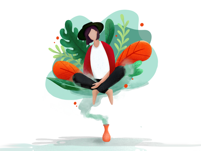 Genius procreate girl illustration genius plants colorful vector flat illustration