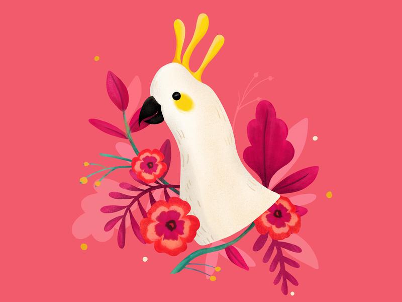 Tropical Bird animal art procreate brush plants nature colorful tropical flowers flat illustration birds