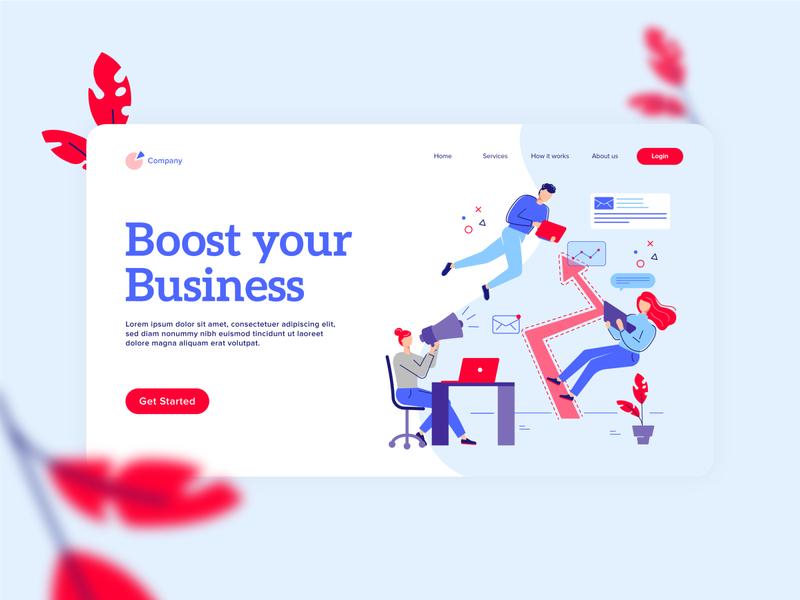 Boost Your Business - Landing Page webside character design vector business app app workshop workspace office creative characters business landing page webdesign ux ui illustration
