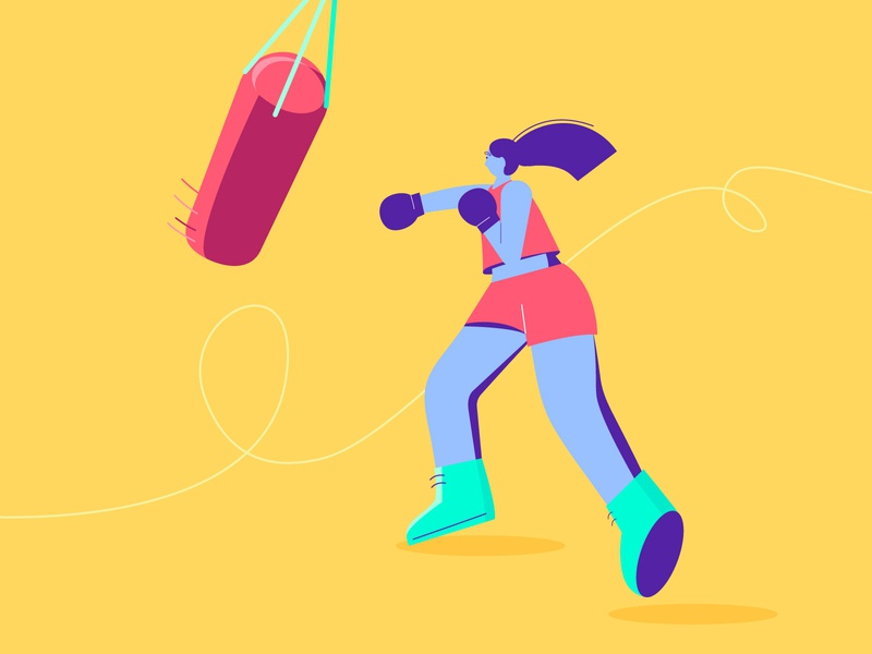 Be fearless - Boxing Girl woman illustration girl people sports character design boxing gloves boxing flat vector illustration