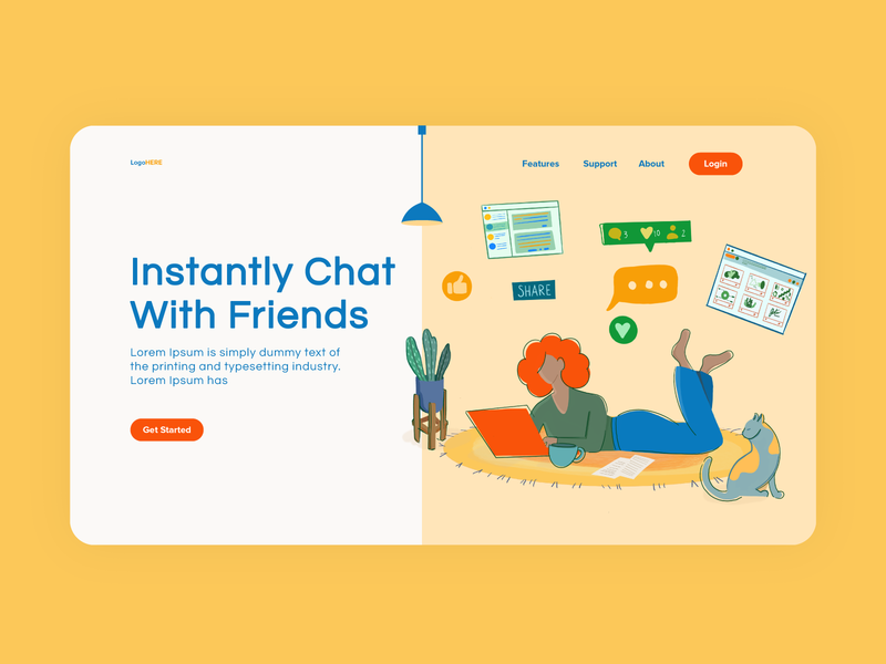 Chat with friends instagra dribbble likes work from home computer girl social media saas slack chat uiux website character design cat room design flat vector illustration