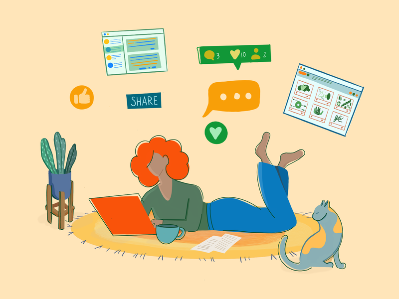 Chat with friends work from home website vector uiux social media slack saas room likes instagram illustration woman illustration girl flat dribbble laptop computer chat character design cat
