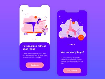 Yoga App ui vector illustration healthcare laptop device yoga pose yoga room health app health exercises girl illustration girl character flat app