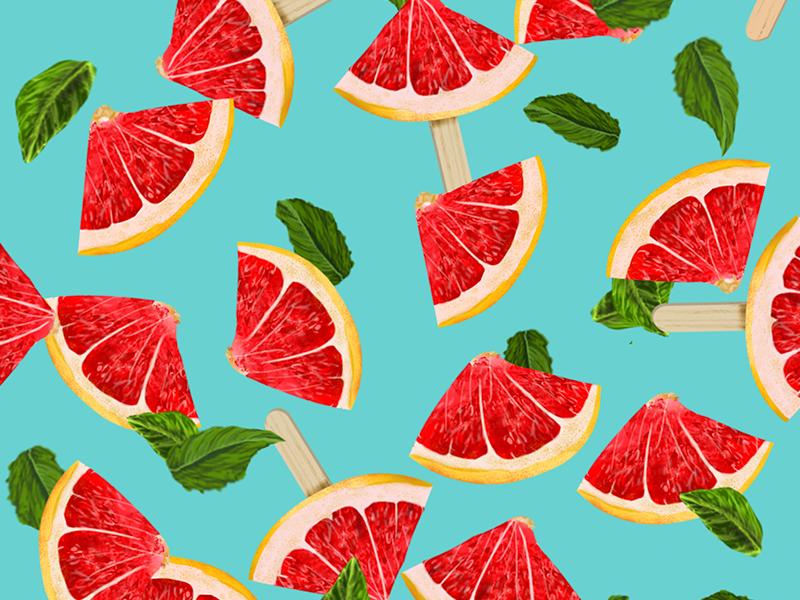 Lemon Palette paint brush leaf orange juice tropic brush nature food design ice cream lemon pattern illustration