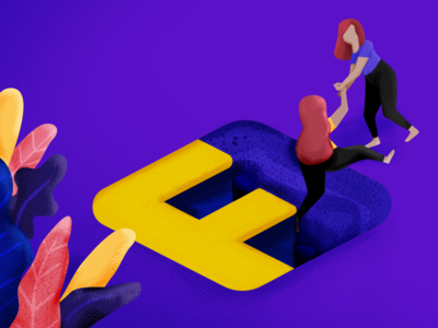 36 days of type - F flat colorful friends hole ilustration desing creative girl power girl plant purple friendship letter f 36 days 36 days of type