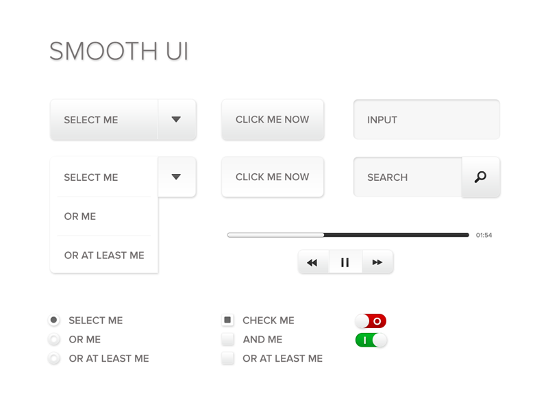 Smooth UI ui userinterface kit button select input progress minimal white light smooth soft