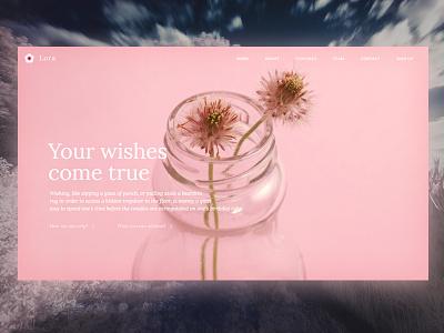 Lora Wishes minimalistic minimal stachecka pink flower page landing