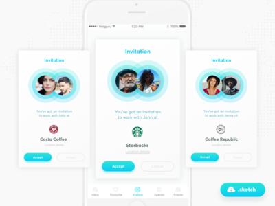 Meeting App Freebie! #2 coffee social friends sketch netguru meeting map gps freebie free