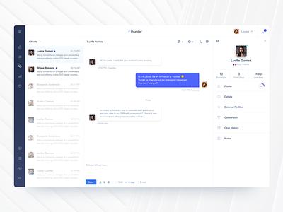 Thunder ⚡- customer communication platform sidebar user stats interface conversation messenger user profile chat app chat