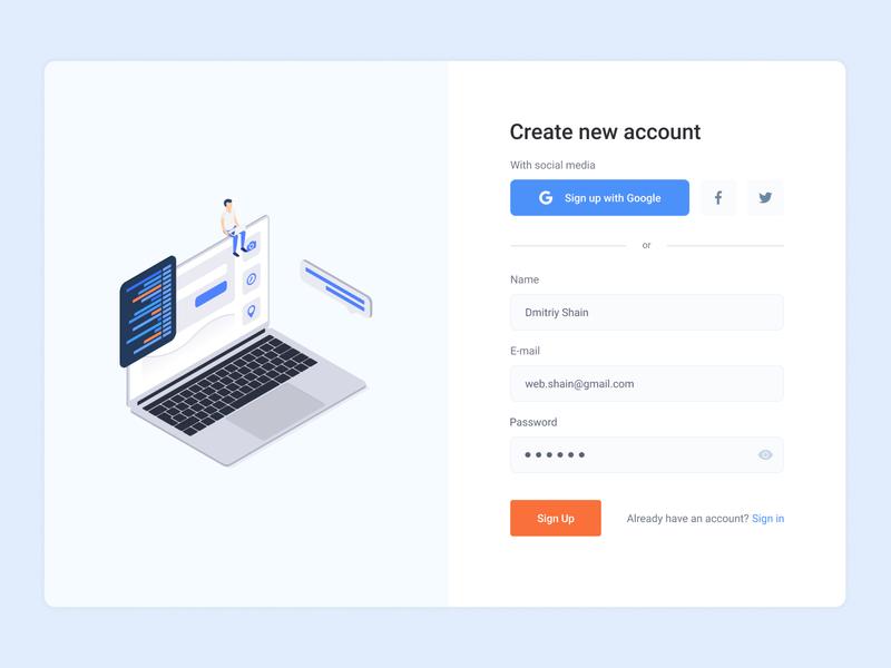 Sign Up / Sign in form sign in create account registration web-design forms log in sign up design ux ui form design form