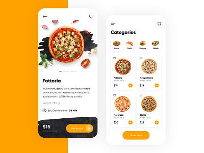 Food Delivery Mobile App - UX/UI Design mobileapp uxuidesign uiuxdesign uxdesign uiux uidesign mobile sushi pizza food illustration icon mobileappdesign app minimal ux ui design