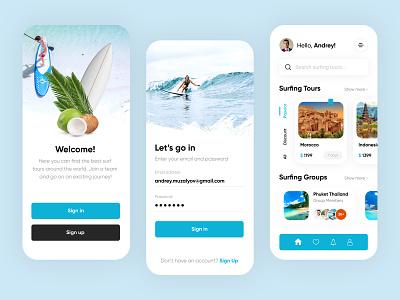 Surfing Tours Mobile App - UX/UI Design mobille app design mobileapp ui mobileappdesign uidesign surfing tours travel ux uiux