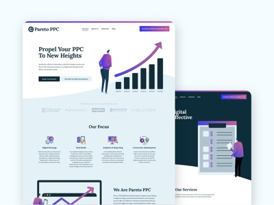 Pareto PPC - Website Design webflow logo design brand design ad agency advertising agency website design web design website