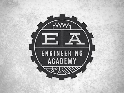 Engineering Academy Logo engineering academy logo hipster gear deming tech rust circuit