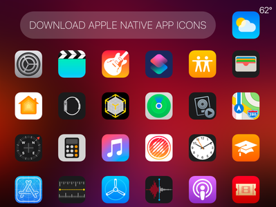 Apple's Native 62pcs Apps Icons for Free Download vector high quality native apps xd ai freebie app icons apple