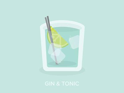 Gin & Tonic flat cocktail tonic gin illustration