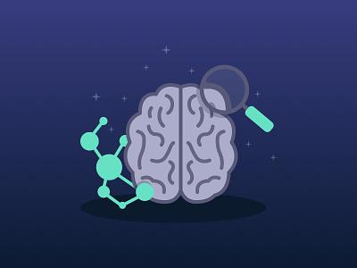 Study the Brain Illustration flat science brain illustration