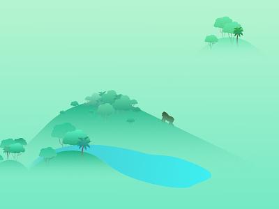 Rainforest gradient gorilla flat-illustration flat illustration rainforest