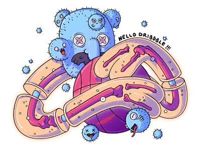 Hello Dribbble! hellodribbble new floating line transparent hello dribbble cosmic cactus bone monster creature character design illustration