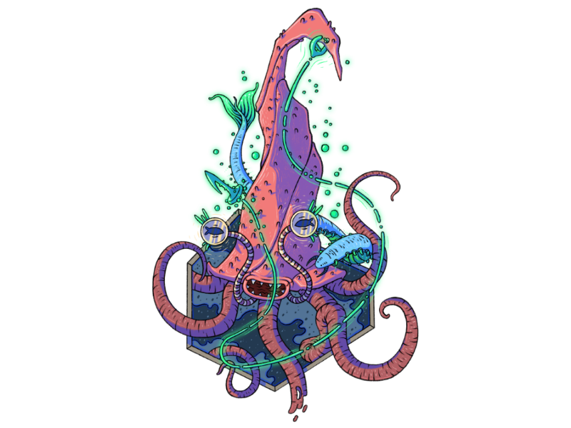 Cephalopod-Esq fantasy familiar water deapsea bait hook glow cephalopod tentacle monster creature character illustration