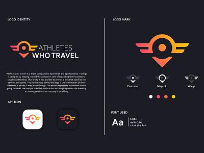 ATHLETES WHO TRAVEL logo minimal icon typography identity flat design branding vector illustration brand design logo logo design
