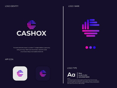 CASHOX website minimal typography branding design icon vector logo illustration logos brand design logo design