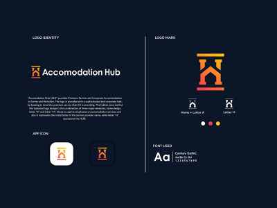 Accomodation HUB app identity lettering icon typography vector branding design illustration logo