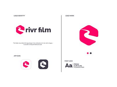 Rivr Film illustrator animation minimal typography identity vector branding design illustration logo